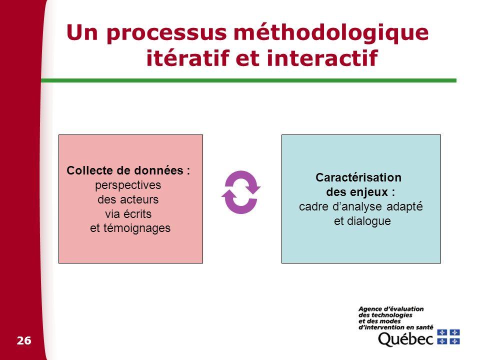 26 Un processus méthodologique itératif et interactif Collecte de données : perspectives des acteurs via écrits et témoignages Caractérisation des enj