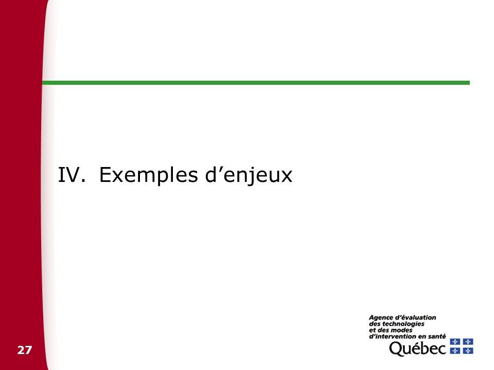 27 IV.Exemples denjeux