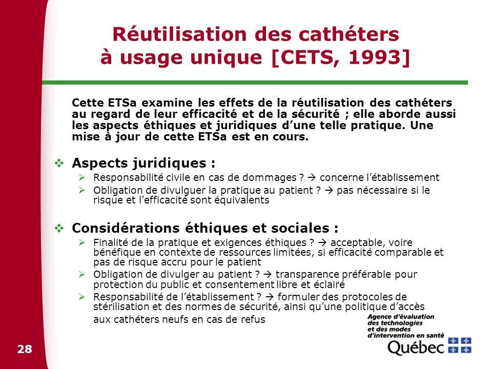 28 Réutilisation des cathéters à usage unique [CETS, 1993] Cette ETSa examine les effets de la réutilisation des cathéters au regard de leur efficacit