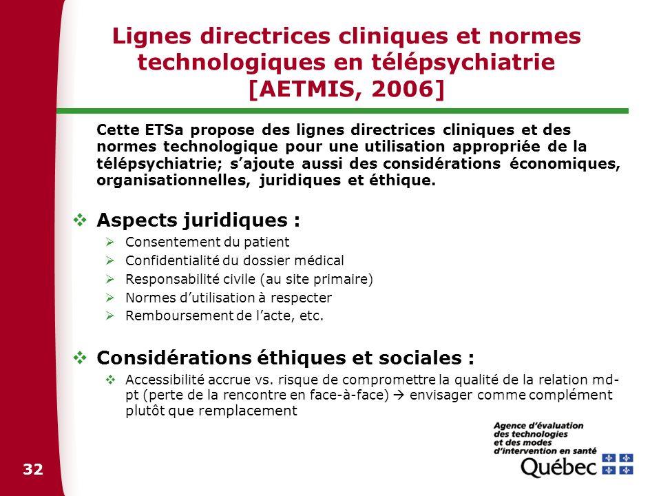 32 Lignes directrices cliniques et normes technologiques en télépsychiatrie [AETMIS, 2006] Cette ETSa propose des lignes directrices cliniques et des