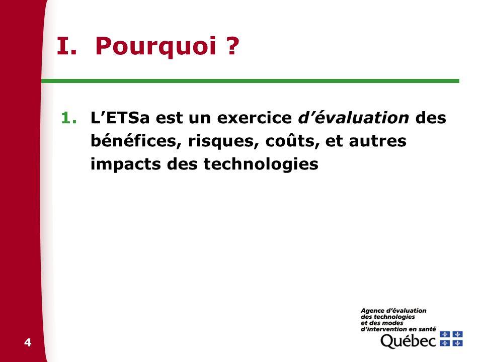 4 I. Pourquoi ? 1.LETSa est un exercice dévaluation des bénéfices, risques, coûts, et autres impacts des technologies