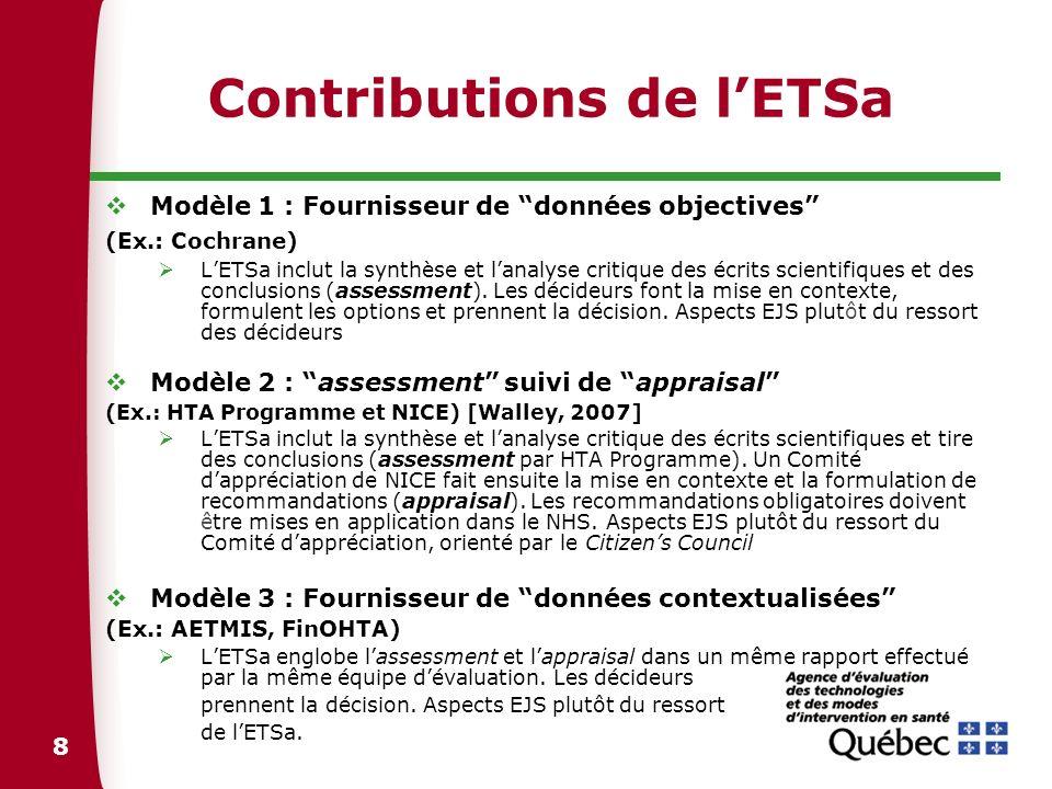 8 Contributions de lETSa Modèle 1 : Fournisseur de données objectives (Ex.: Cochrane) LETSa inclut la synthèse et lanalyse critique des écrits scienti