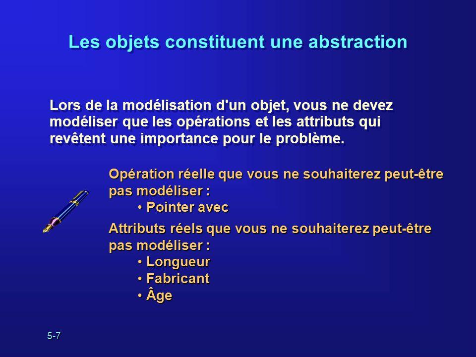 5-7 Lors de la modélisation d'un objet, vous ne devez modéliser que les opérations et les attributs qui revêtent une importance pour le problème. Lors
