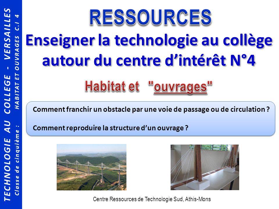 TECHNOLOGIE AU COLLEGE - VERSAILLES Classe de cinquième : HABITAT ET OUVRAGES C.I 4 Enseigner la technologie au collège autour du centre dintérêt N°4