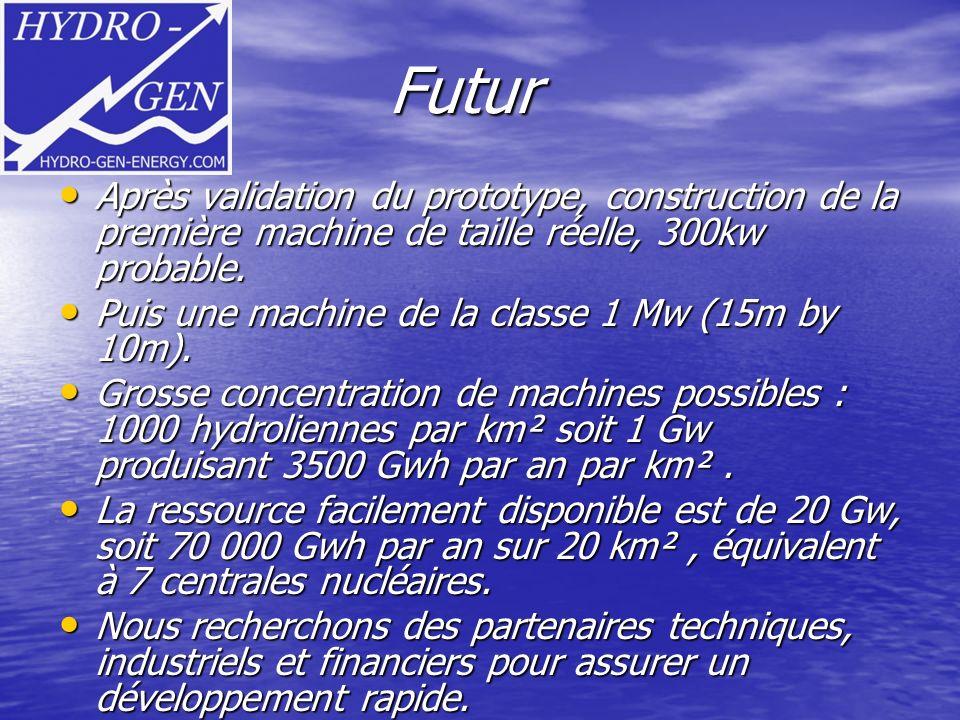 Futur Futur Après validation du prototype, construction de la première machine de taille réelle, 300kw probable. Après validation du prototype, constr