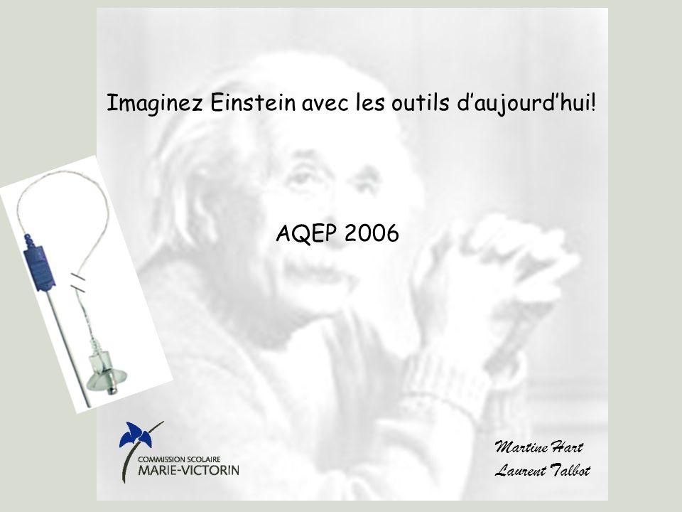 sb.epfl.ch/gmpage.html Imaginez Einstein avec les outils daujourdhui! AQEP 2006 Martine Hart Laurent Talbot