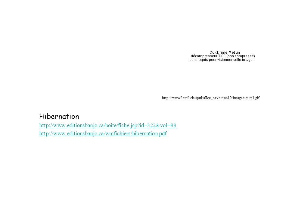Hibernation http://www.editionsbanjo.ca/boite/fiche.jsp?id=322&vol=88 http://www.editionsbanjo.ca/wmfichiers/hibernation.pdf http://www2.unil.ch/spul/