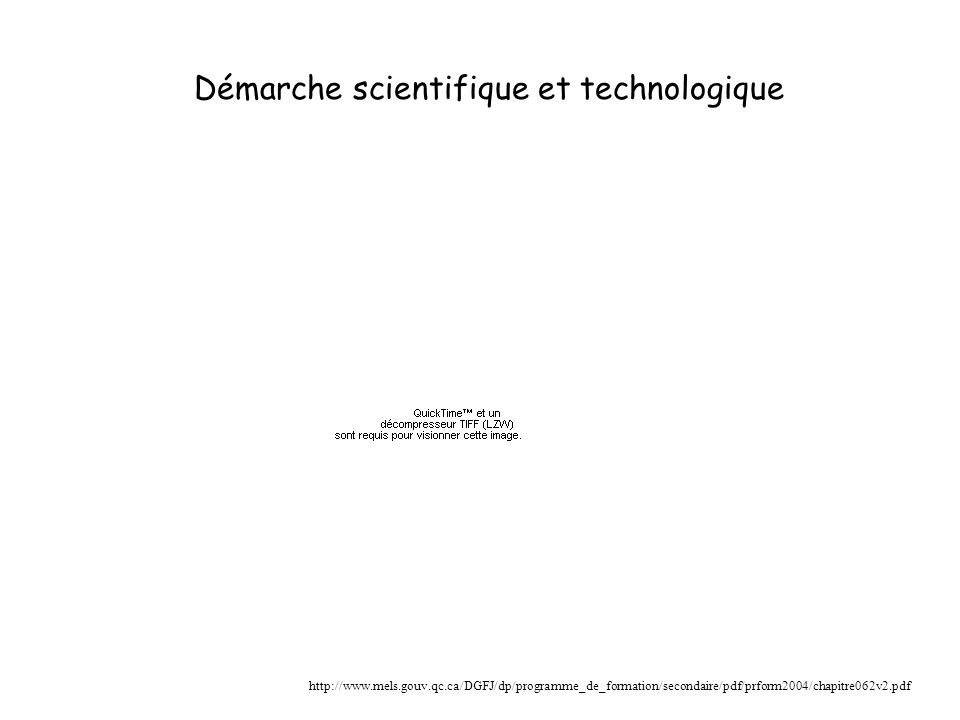 Démarche scientifique et technologique http://www.mels.gouv.qc.ca/DGFJ/dp/programme_de_formation/secondaire/pdf/prform2004/chapitre062v2.pdf