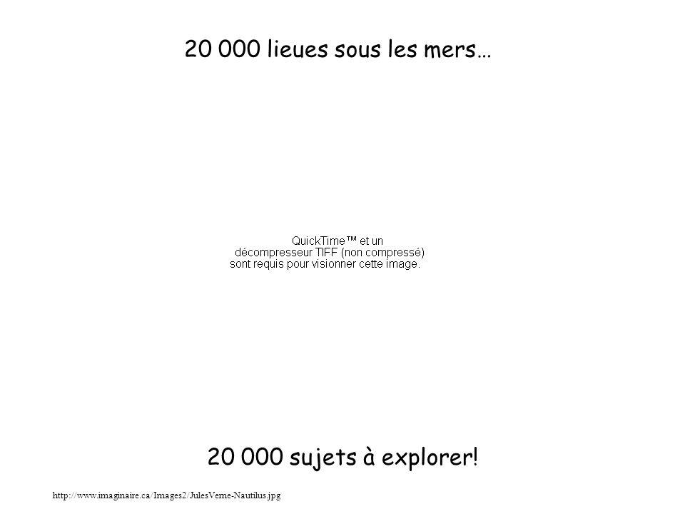 20 000 lieues sous les mers… http://www.imaginaire.ca/Images2/JulesVerne-Nautilus.jpg 20 000 sujets à explorer!