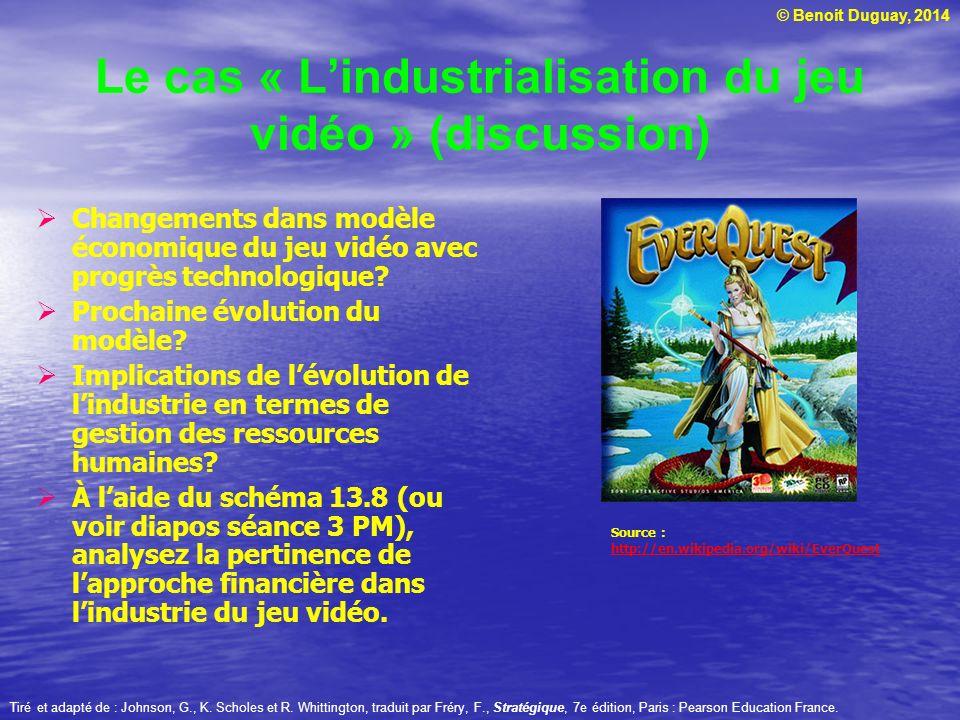 © Benoit Duguay, 2014 Tiré et adapté de : Johnson, G., K. Scholes et R. Whittington, traduit par Fréry, F., Stratégique, 7e édition, Paris : Pearson E