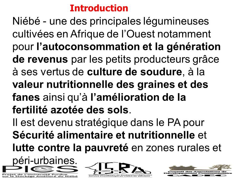 Introduction Niébé - une des principales légumineuses cultivées en Afrique de lOuest notamment pour lautoconsommation et la génération de revenus par