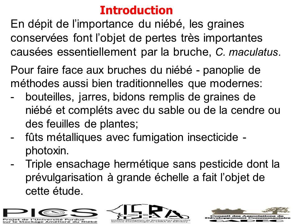 Introduction En dépit de limportance du niébé, les graines conservées font lobjet de pertes très importantes causées essentiellement par la bruche, C.