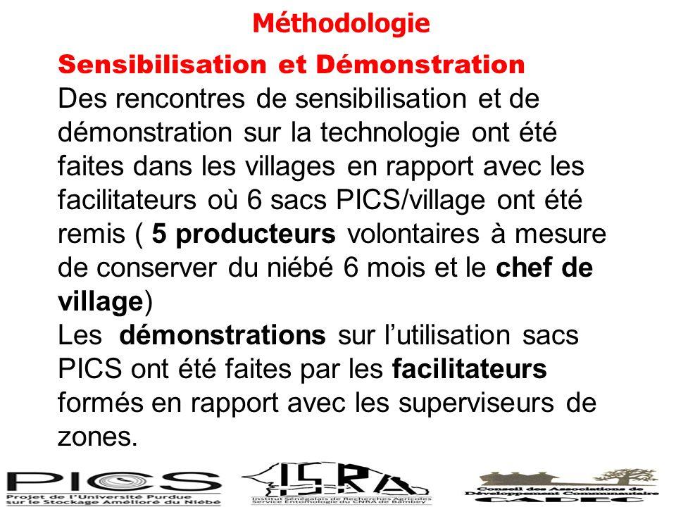 Echantillonnage - Choix des villages à louverture a été fait selon un programme zonal douverture suivant la disponibilité de sacs à ouvrir.