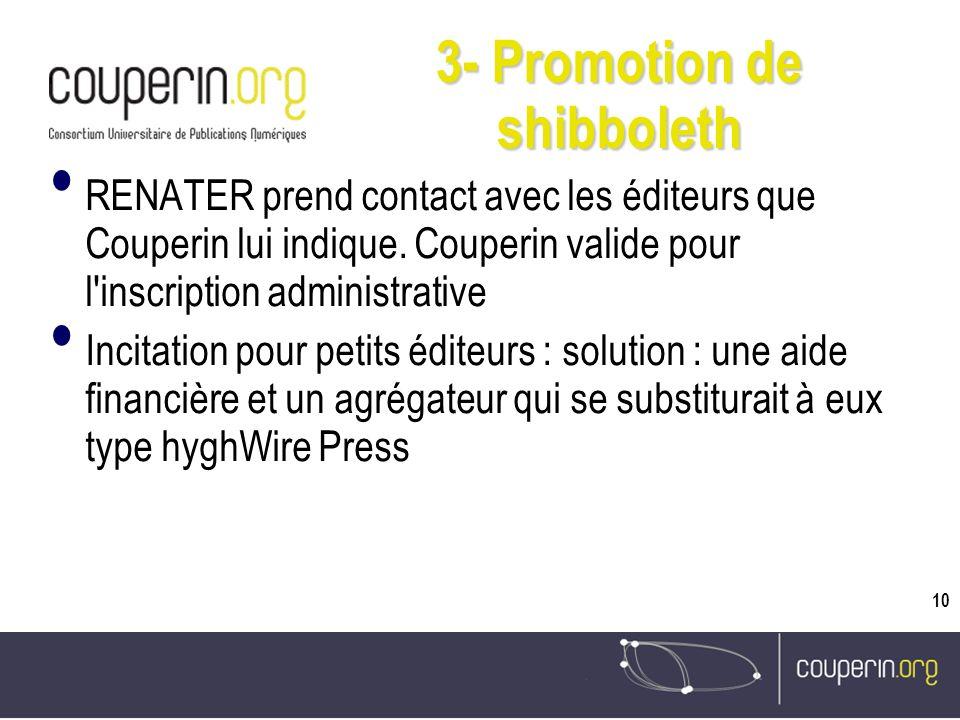 10 3- Promotion de shibboleth RENATER prend contact avec les éditeurs que Couperin lui indique.