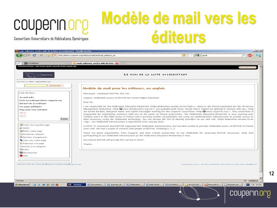 12 Modèle de mail vers les éditeurs