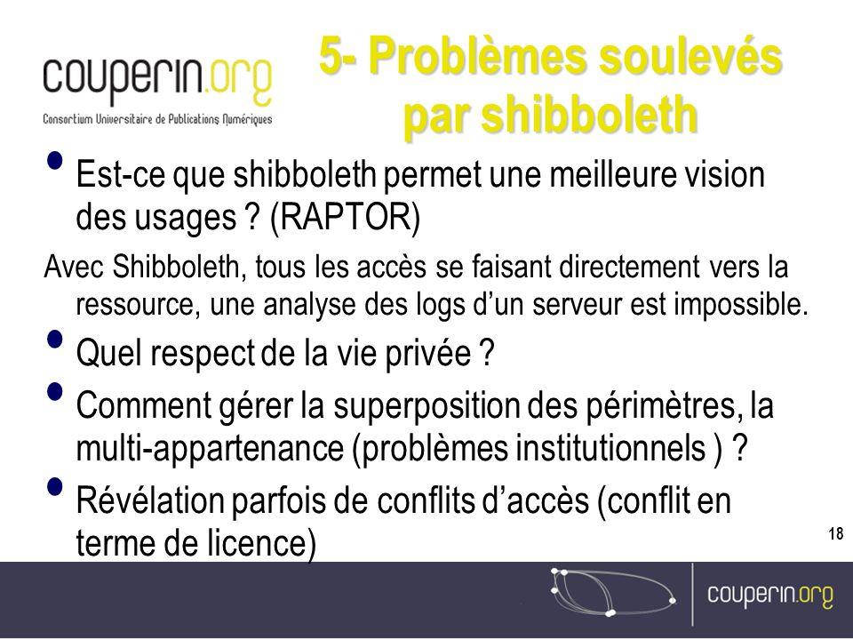 18 5- Problèmes soulevés par shibboleth Est-ce que shibboleth permet une meilleure vision des usages .
