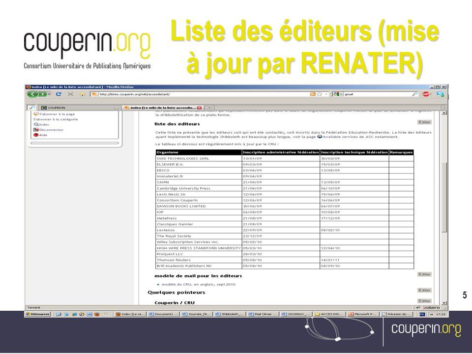 5 Liste des éditeurs (mise à jour par RENATER)