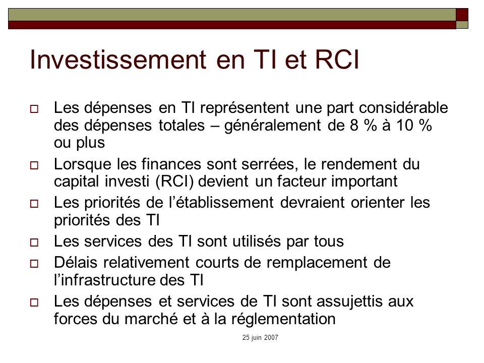 25 juin 2007 Investissement en TI et RCI Les dépenses en TI représentent une part considérable des dépenses totales – généralement de 8 % à 10 % ou pl