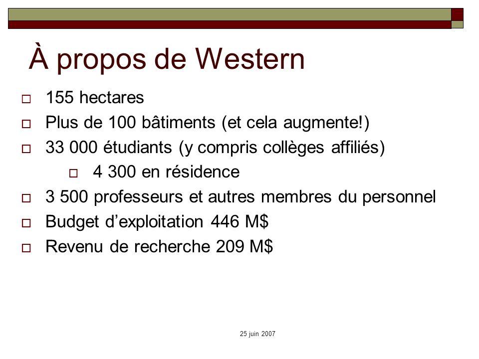 25 juin 2007 À propos de Western 155 hectares Plus de 100 bâtiments (et cela augmente!) 33 000 étudiants (y compris collèges affiliés) 4 300 en réside
