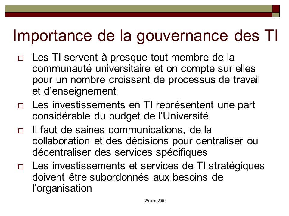 25 juin 2007 Importance de la gouvernance des TI Les TI servent à presque tout membre de la communauté universitaire et on compte sur elles pour un no
