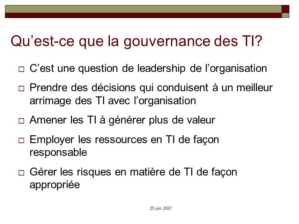 25 juin 2007 Quest-ce que la gouvernance des TI? Cest une question de leadership de lorganisation Prendre des décisions qui conduisent à un meilleur a