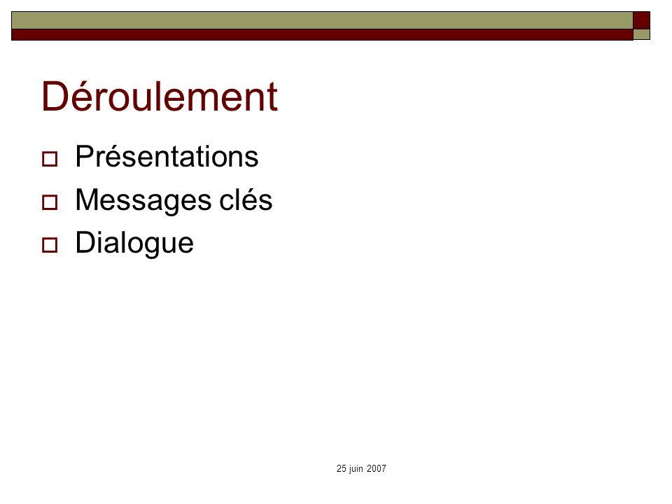 25 juin 2007 Déroulement Présentations Messages clés Dialogue