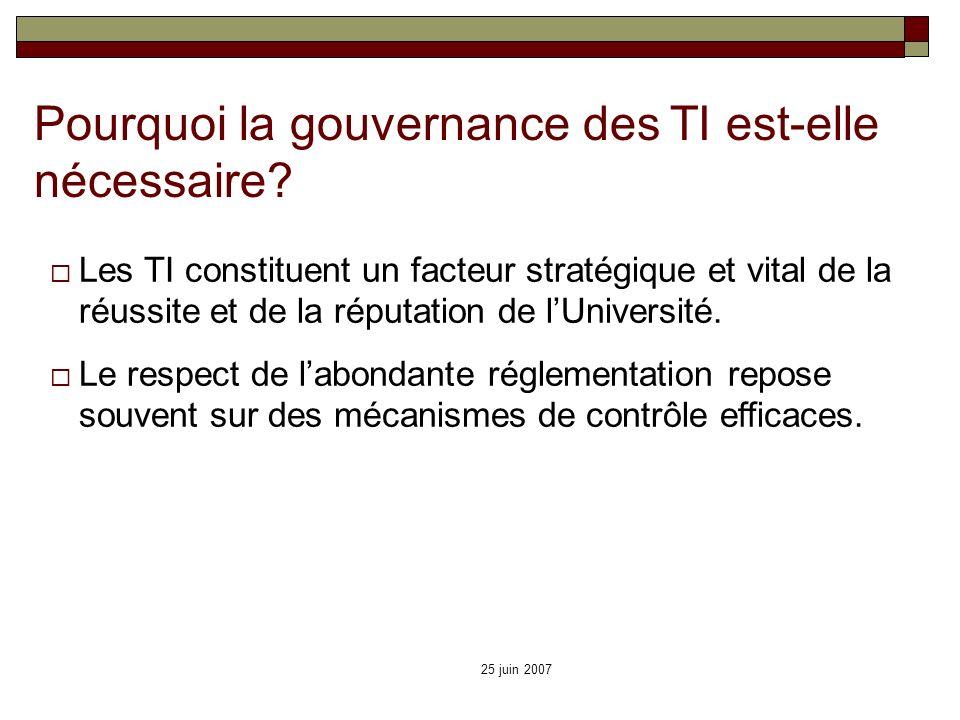 25 juin 2007 Pourquoi la gouvernance des TI est-elle nécessaire? Les TI constituent un facteur stratégique et vital de la réussite et de la réputation