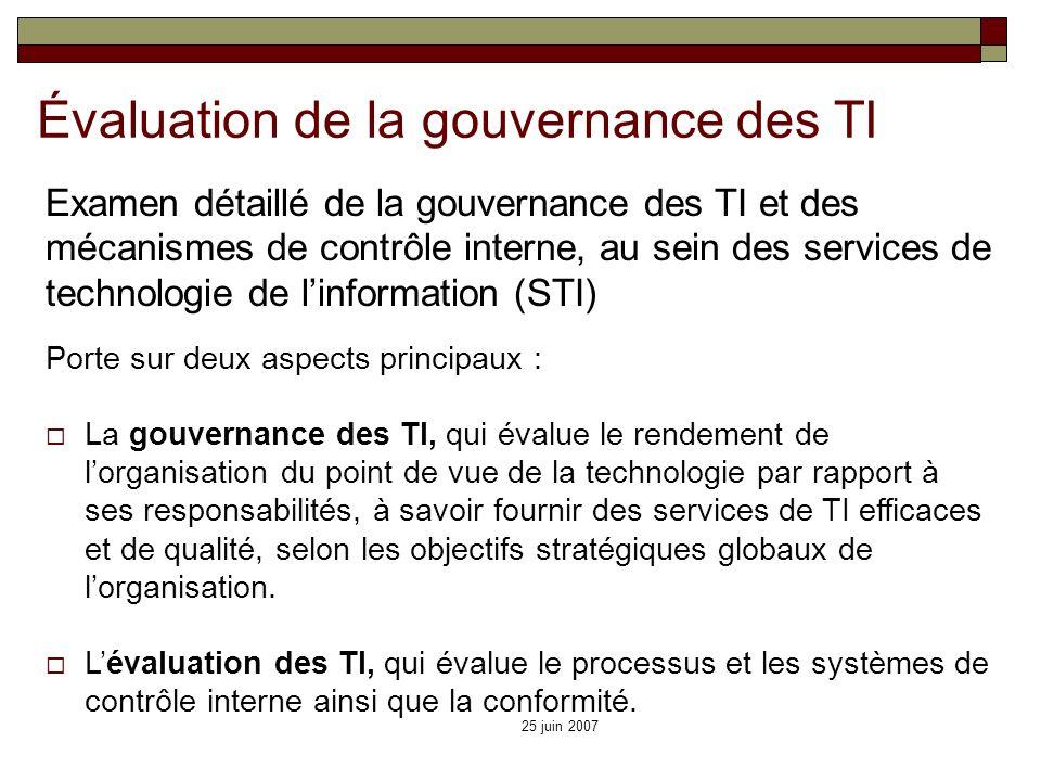 25 juin 2007 Porte sur deux aspects principaux : La gouvernance des TI, qui évalue le rendement de lorganisation du point de vue de la technologie par