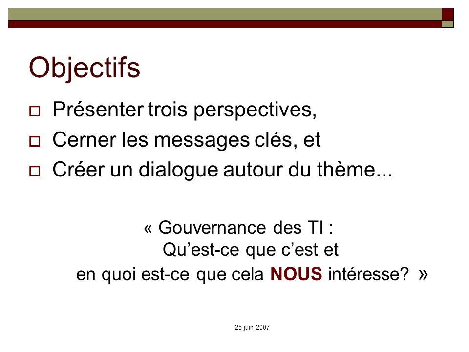 25 juin 2007 Objectifs Présenter trois perspectives, Cerner les messages clés, et Créer un dialogue autour du thème... « Gouvernance des TI : Quest-ce