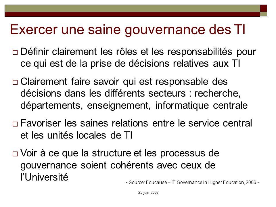 25 juin 2007 Exercer une saine gouvernance des TI Définir clairement les rôles et les responsabilités pour ce qui est de la prise de décisions relativ