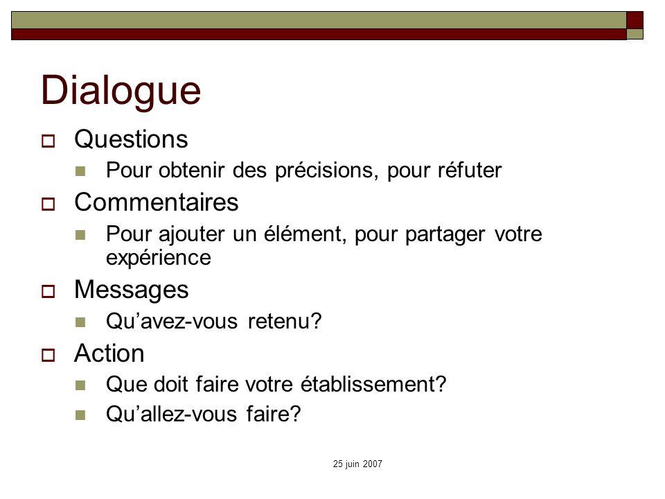 25 juin 2007 Dialogue Questions Pour obtenir des précisions, pour réfuter Commentaires Pour ajouter un élément, pour partager votre expérience Message