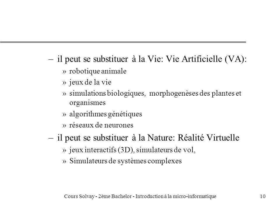 10 –il peut se substituer à la Vie: Vie Artificielle (VA): »robotique animale »jeux de la vie »simulations biologiques, morphogenèses des plantes et organismes »algorithmes génétiques »réseaux de neurones –il peut se substituer à la Nature: Réalité Virtuelle »jeux interactifs (3D), simulateurs de vol, »Simulateurs de systèmes complexes Cours Solvay - 2ème Bachelor - Introduction à la micro-informatique