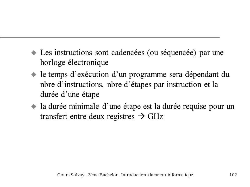 102 u Les instructions sont cadencées (ou séquencée) par une horloge électronique u le temps dexécution dun programme sera dépendant du nbre dinstructions, nbre détapes par instruction et la durée dune étape u la durée minimale dune étape est la durée requise pour un transfert entre deux registres GHz Cours Solvay - 2ème Bachelor - Introduction à la micro-informatique