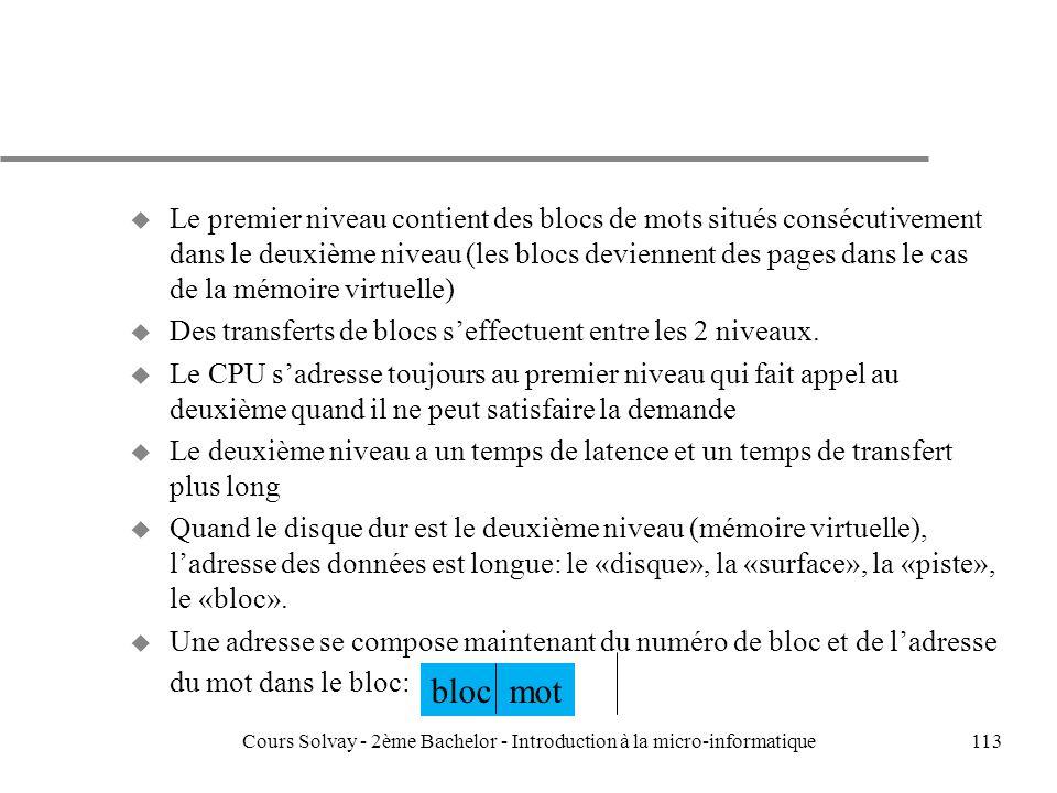 113 u Le premier niveau contient des blocs de mots situés consécutivement dans le deuxième niveau (les blocs deviennent des pages dans le cas de la mémoire virtuelle) u Des transferts de blocs seffectuent entre les 2 niveaux.