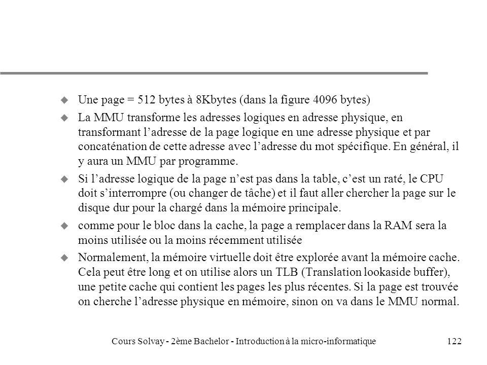122 u Une page = 512 bytes à 8Kbytes (dans la figure 4096 bytes) u La MMU transforme les adresses logiques en adresse physique, en transformant ladresse de la page logique en une adresse physique et par concaténation de cette adresse avec ladresse du mot spécifique.