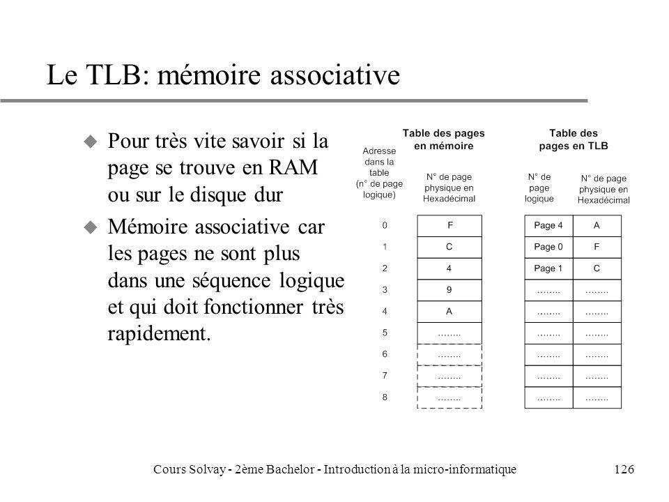 126 Le TLB: mémoire associative u Pour très vite savoir si la page se trouve en RAM ou sur le disque dur u Mémoire associative car les pages ne sont plus dans une séquence logique et qui doit fonctionner très rapidement.