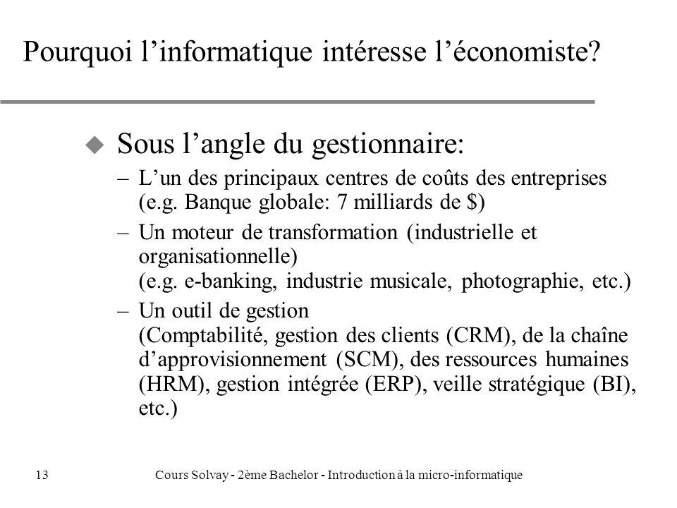 Pourquoi linformatique intéresse léconomiste.