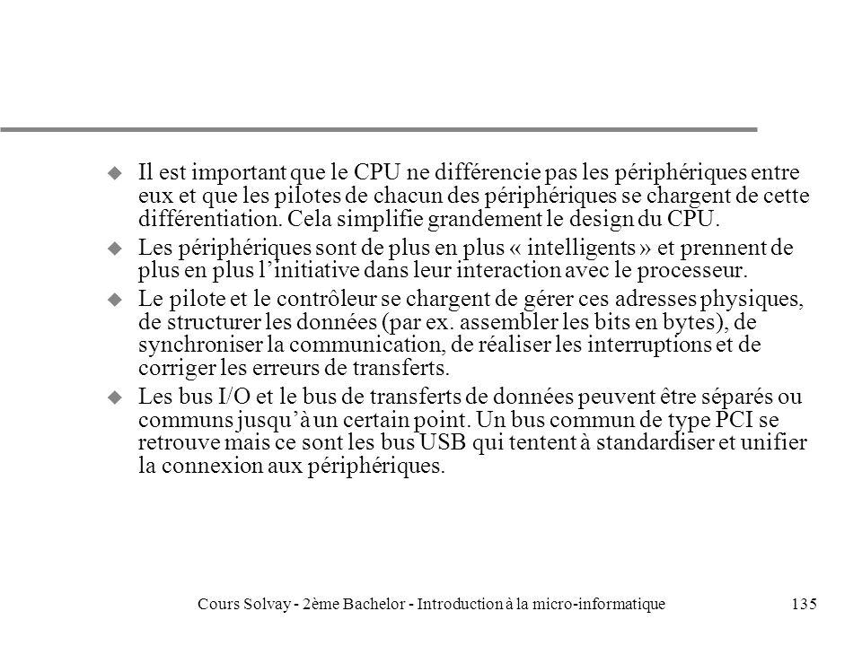 135 u Il est important que le CPU ne différencie pas les périphériques entre eux et que les pilotes de chacun des périphériques se chargent de cette différentiation.