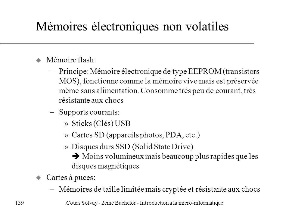 u Mémoire flash: –Principe: Mémoire électronique de type EEPROM (transistors MOS), fonctionne comme la mémoire vive mais est préservée même sans alimentation.
