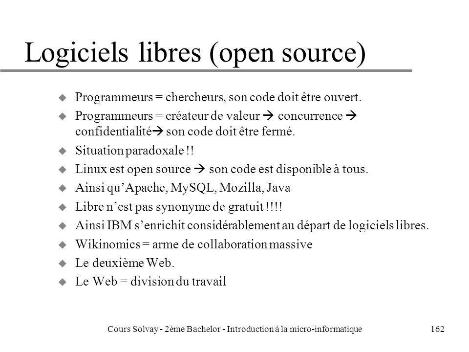 Logiciels libres (open source) u Programmeurs = chercheurs, son code doit être ouvert.