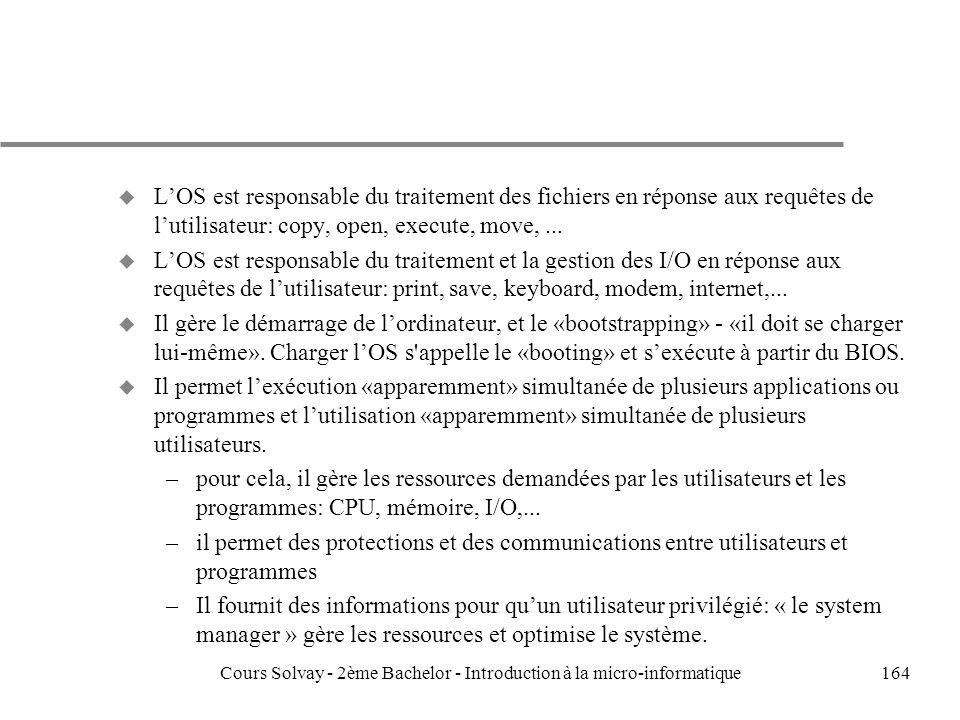 164 u LOS est responsable du traitement des fichiers en réponse aux requêtes de lutilisateur: copy, open, execute, move,...
