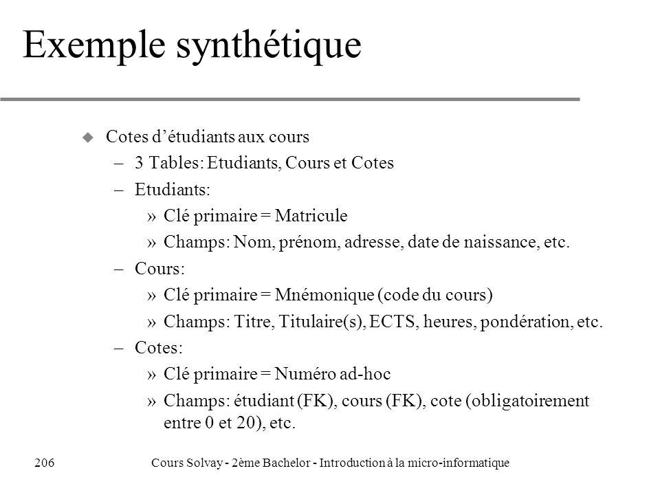 Exemple synthétique u Cotes détudiants aux cours –3 Tables: Etudiants, Cours et Cotes –Etudiants: »Clé primaire = Matricule »Champs: Nom, prénom, adresse, date de naissance, etc.