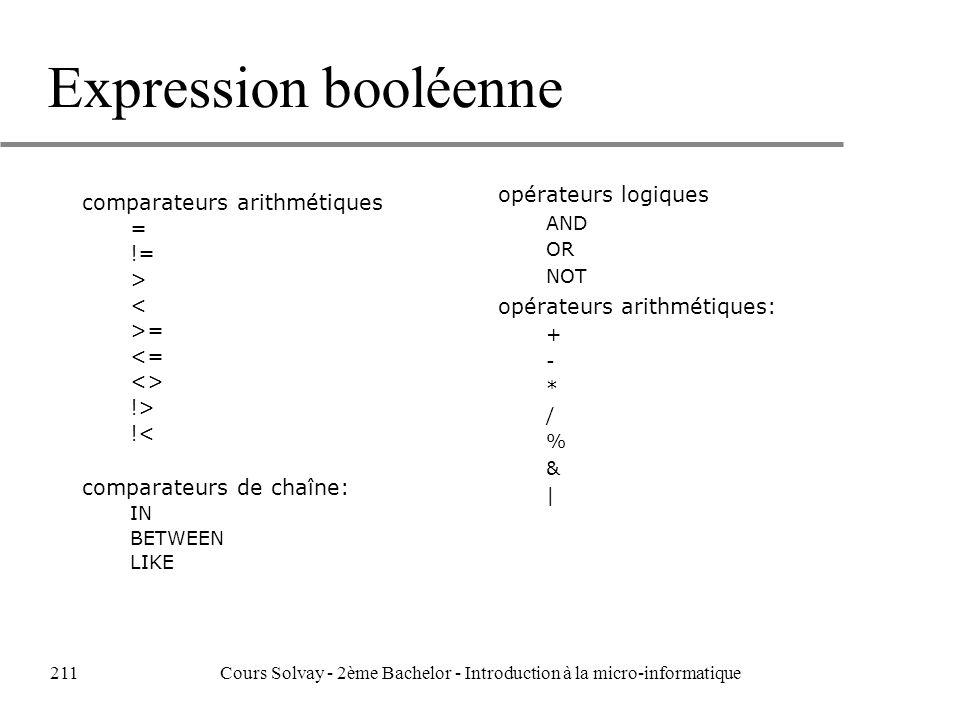 Expression booléenne opérateurs logiques AND OR NOT opérateurs arithmétiques: + - * / % & | comparateurs arithmétiques = != > < >= <= <> !> !< comparateurs de chaîne: IN BETWEEN LIKE 211Cours Solvay - 2ème Bachelor - Introduction à la micro-informatique