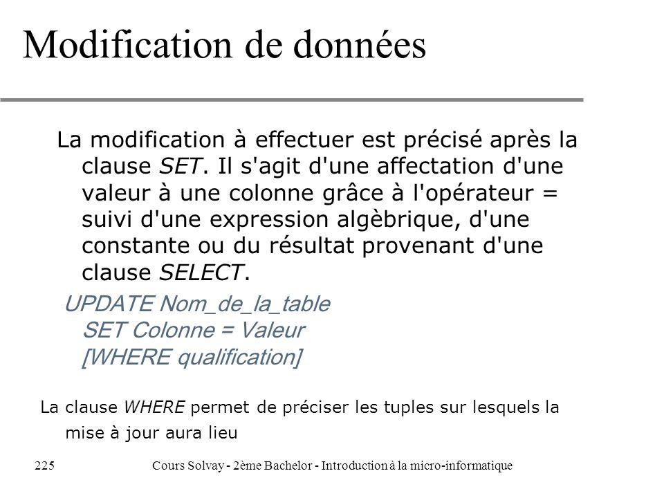 Modification de données La modification à effectuer est précisé après la clause SET.