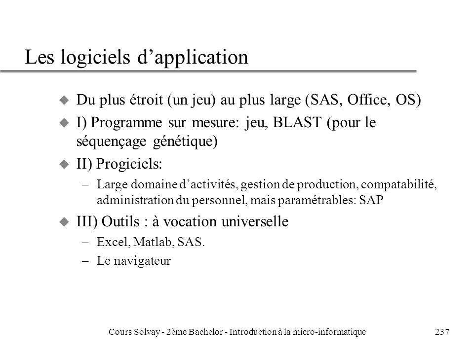 237 Les logiciels dapplication u Du plus étroit (un jeu) au plus large (SAS, Office, OS) u I) Programme sur mesure: jeu, BLAST (pour le séquençage génétique) u II) Progiciels: –Large domaine dactivités, gestion de production, compatabilité, administration du personnel, mais paramétrables: SAP u III) Outils : à vocation universelle –Excel, Matlab, SAS.