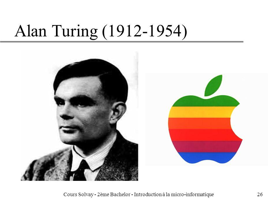 26 Alan Turing (1912-1954) Cours Solvay - 2ème Bachelor - Introduction à la micro-informatique