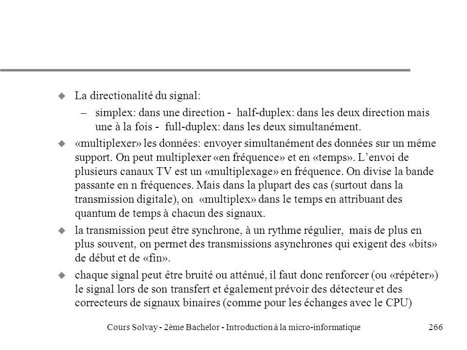 266 u La directionalité du signal: –simplex: dans une direction - half-duplex: dans les deux direction mais une à la fois - full-duplex: dans les deux simultanément.
