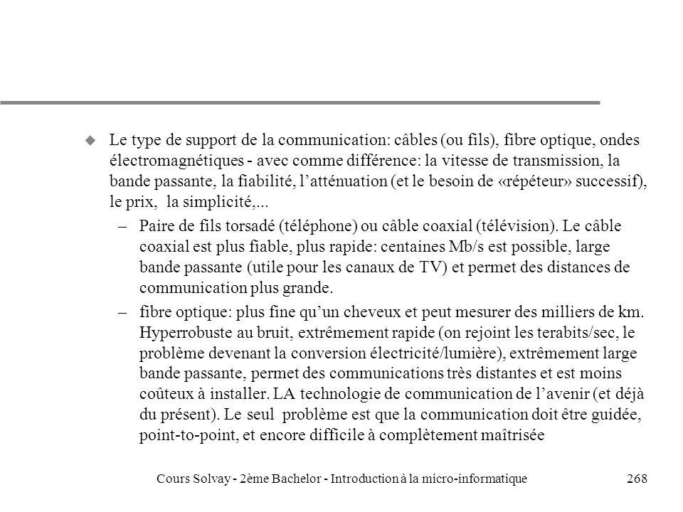 268 u Le type de support de la communication: câbles (ou fils), fibre optique, ondes électromagnétiques - avec comme différence: la vitesse de transmission, la bande passante, la fiabilité, latténuation (et le besoin de «répéteur» successif), le prix, la simplicité,...