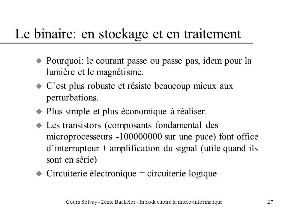 27 Le binaire: en stockage et en traitement u Pourquoi: le courant passe ou passe pas, idem pour la lumière et le magnétisme.
