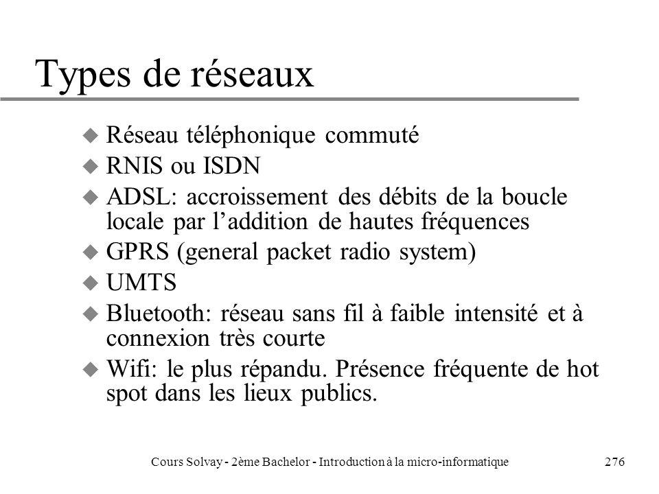276 Types de réseaux u Réseau téléphonique commuté u RNIS ou ISDN u ADSL: accroissement des débits de la boucle locale par laddition de hautes fréquences u GPRS (general packet radio system) u UMTS u Bluetooth: réseau sans fil à faible intensité et à connexion très courte u Wifi: le plus répandu.